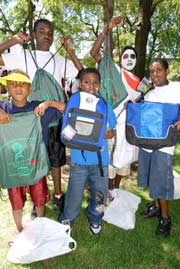 Bookbags and school supplies were given away at Good Food + Good Reading 08.