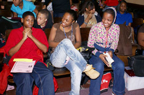 Nicholson students at an Open Book Author Event.