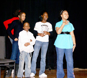 White students perform.
